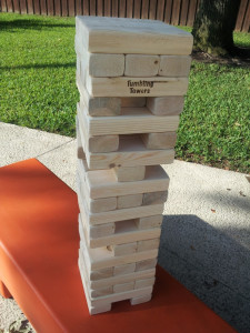 Giant outdoor jenga set