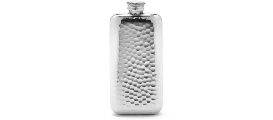 Hammered Pewter Flask Handmade in England | Best Hip Flasks | Sobur Hangover Cure