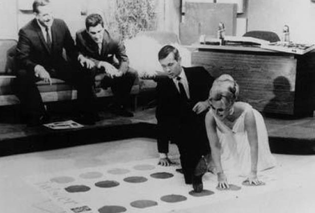 Johnny Carson playing Twister on a 1966 episode of the Tonight Show